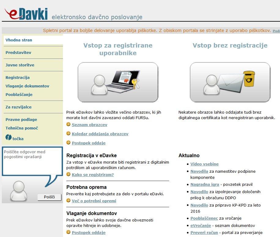 Do portala eDavki tudi brez certifikata